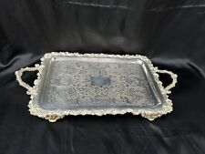 """Antique Victorian Plated Silver Handled Tray With Feet Marked FSG 11""""x21"""""""