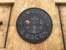 I LOVE GUNS AND BACON TACTICAL PVC HEART PATCH Coffee Army Morale Airsoft Badge