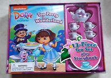 DORA THE EXPLORER TEA PARTY IN WONDERLAND 13 PIECE TEA SET WITH STORYBOOK - NEW