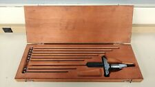 Starret Depth Micrometer No. 440  Set with 9 Rods in Wooden Case