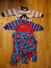 3 PAIR BOYS PAJAMAS, 2 FLEECE FOOTED ZIP UP 1 2PC SPIDERMAN , SIZE:  18 MONTHS