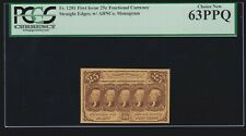 US 25c Fractional Currency 1st Issue FR 1281 PCGS 63 PPQ Ch CU (-020)