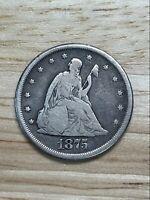 1875-CC Seated Twenty Cent- 2/24/21, Free Shipping