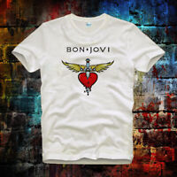 Bon Jovi Logo Rock Music Vintage Retro Top Ideal Gift Unisex Ladies T Shirt 535b