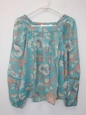 Lauren Conrad Women's Shirred Floral Peasant Top Small Teal