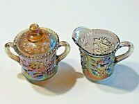 Vintage Imperial Glass Iridescent Covered Sugar Dish and Creamer Embossed Rose