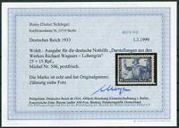 Deutsches Reich DR Nr. 506 A postfrisch Fotobefund BPP Schlegel geprüft 350 €