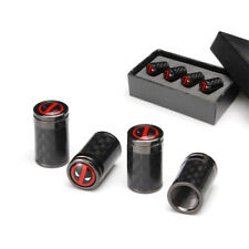 4x Titanium Carbon Fiber Deadpool Emblem Wheels Tire Air Valve Caps Stem Cover