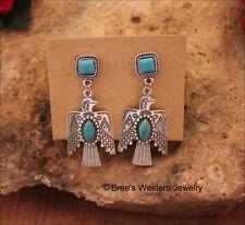Southwest Thunderbird Turquoise Stone Post Earrings Tribal Cowgirl