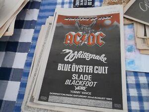 AC/DC , WHITESNAKE , MONSTERS  OF ROCK GIG COLLECTORS ITEM/ POSTER 1981 FRAMING