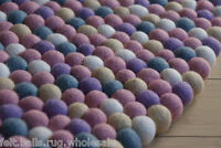 Pastel Soft Handmade Children Round Carpet 90-200cm Felt Ball Rug Wool Playmat
