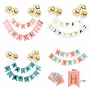 Glitter Holographic Happy Birthday Banner Bunting Letter Party Decoratio Garland