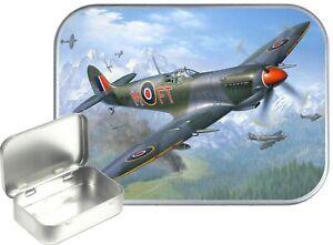 Spitfire Small Silver Hinged Gift Tin, 30ml Hinged Tobacco Tin, Camping Tin