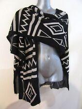 NEW Aztec Print Knit Convertible Vest Shawl Black Cream Stretch OS