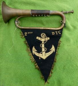VINTAGE FRENCH MADE (MILITARY) BUGLE WITH NICE DOUBLE SIDED EMBROIDERED BANNER