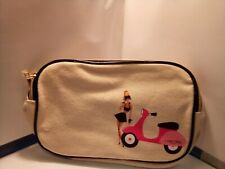 Lancôme canvas cosmetic bag - new in package - Girl With Scooter - 2 zippers