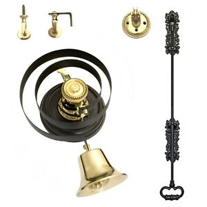 Butlers Bell - Black Iron Pull + BRASS   With Wood Plinth - FULL KIT