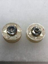 Gilt Copper Would Make Brilliant Earrings Antique Pair C18th Studs M.o.P & Paste
