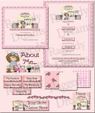 Evie's Pink & Yellow Boutique COMPLETE EBAY STORE DESIGN Raggedy Dreams