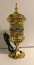 Electric Incense Burner Gold Handmade Embossed With Multi Color Crystals NIB