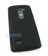 FOR LG POWER L22C DESTINY L21G FULL BLACK PERFORATED NET HYBRID CASE PHONE COVER