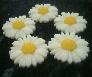 10 x  White & Yellow Daisy Daisies Flower Cabochon 27mm Resin