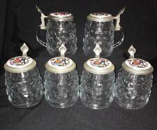Vintage Set Of 6 Original BMF Bierseidel Beer Steins with Decorative Pewter Lids