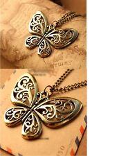 Para Mujer Vintage Regalo Collar Colgante de Mariposa Huecos Reino Unido