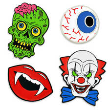 PinMart Halloween Horror Clown Zombie Fangs Eyeball Holiday Enamel Lapel Pin Set