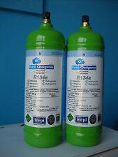 2 BOMBOLE GAS REFRIGERANTE R134A da 1Lt  - per ricaricare climatizzatori AUTO -