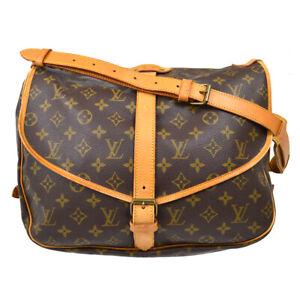 LOUIS VUITTON SAUMUR 35 SHOULDER BAG PURSE MONOGRAM CANVAS M42254 ay 40057