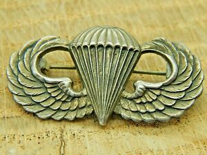 Rare Scarce Durocharm US Army Airborne Paratrooper Jump wings Sterling WWII WW2