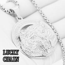 """STAINLESS STEEL SILVER TIGER HEAD PENDANT 30""""ROUND BOX CHAIN/81g/E382"""