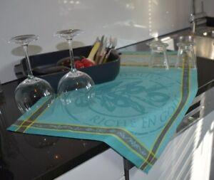 Geschirrtuch Baumwolle Jacquard 50x70 cm türkis mit Olivenmotiven aus Frankreich