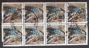 UGANDA 1995. REPTILES- COCODRILOS. BLOQUE DE 8 SELLOS. USADO - USED.