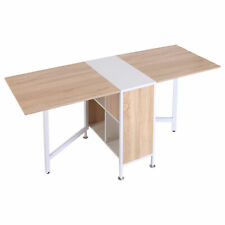 Folding Storage Table Study Laptop Desk Table Space Saving Hideaway Shelves Oak