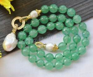 Faceted 10mm Green Jade Natural White Keshi Baroque Pearl Drop Pendant Necklace