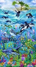 "23"" Fabric Panel - Timeless Treasures Killer Whale Turtle Fish Dolphin Nautical"