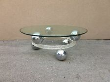 70'S ROUND CRACKED ICE LUCITE WITH SPACED CHROME BALLS COFFEE TABLE WOW - P