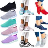 Damen Sneaker Gym Mesh Sportschuhe Laufschuhe Turnschuhe Slip On Sockenschuh