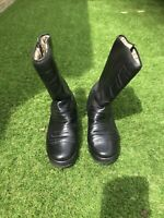 SNOBO Vintage Black Leather Motorcycle Boots With Cambrelle Lining size 6.