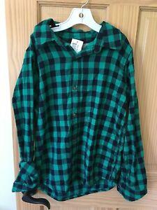 NWT Oshkosh Boys Plaid Green Navy Blue Long Sleeve Button Down Shirt Flannel