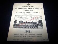 etiquette vin Mission haut brion 1981 75CL wine label wein etikett specimen
