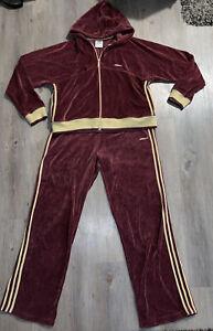 Vintage Maroon Gold Adidas Velour 2 Piece Tracksuit - Size XL Pants  XXL Jacket