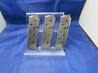 THREE STAINLESS 1911 MAGAZINES 45 AUTO MAG 7 ROUND FITS COLT KIMBER SPRINGFIELD