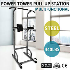 Power Tower Exercise Machine Equipment Home Gym Adjustable Positions Pull Up