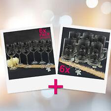 Personalised Favours Set of 12 Customised Wedding Glasses - 6 Wine / 6 Beer Mugs