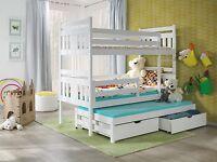 New Bunk Beds Meggi  3 SLEEPER Triple White 3ft Pine Wooden Childre MATTRESSES