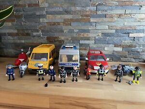 Playmobil Fahrzeuge Konvolut Feuerwehr, Schulbus, Polizei, Helikopter, Figuren
