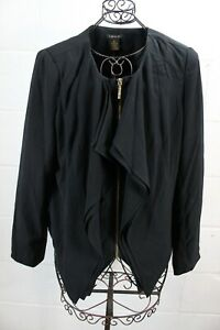 IMAN Chic Black Ruffle Cascading Layers Front Zipper Light Blazer Jacket XL NWT